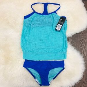 Speedo Girls Mesh Blouson Swim Tankini Two Piece